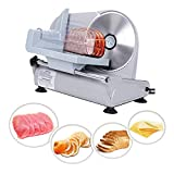 ZENY Professional Stainless Steel Electric Meat Slicer Food & Vegetable Cutter with Removable 7.5' Blade - Adjustable Knob for Thickness - Anti Slip Rubber Feet - Sliver (7.5')