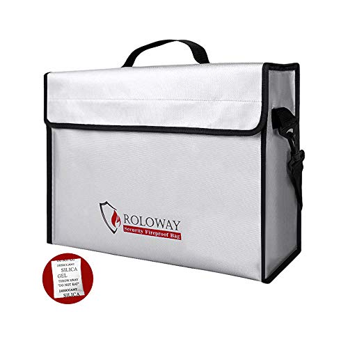 Fireproof Document & Money Bags, ROLOWAY X Large Fireproof & Water Resistant Bag (15' x 12' x 5'), Fireproof Folder Safe Bag for Cash, Valuables, Passport & Jewelry   Silicone Coating/Zipper Closure