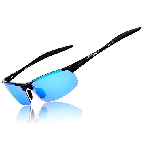 Ronsou Men Sport Al-Mg Polarized Sunglasses Unbreakable For Driving Cycling Fishing Golf black frame/blue lens