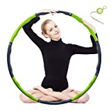 Hula Hoop 2lb, Weighted Exercise Hula Hoop for Adults Kids, Adjustable 8 Detachable Sections Weight Loss Fitness Hula Hoop for Exercise Workout Dancing Soft Ruler (Green)