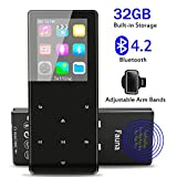 MP3 Player with Bluetooth 4.2, Fauna 32GB Portable Lossless Sound Metal Music Player with Internal Speaker, FM Radio Armband Pedometer Voice Recorder Touch Button, Support up to 128GB, Gift Packing