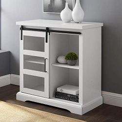 Walker Edison Weston Modern Farmhouse Sliding Glass Door Storage Console, 32 Inch, White