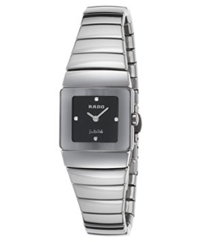 Rado R13334732 Women's Diamond Diastar Gunmetal High-Tech Ceramic & Case Black Dial Watch