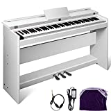Happybuy White Digital Piano 88 Keys Electric Piano Keyboard with 3 Pedal Board Music Stand Flip Cover for Beginner Adults