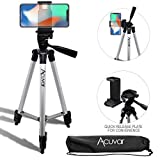 Acuvar 50' Inch Aluminum Camera Tripod with Quick Release + Universal Smartphone Mount for iPhone Xs, Max, Xr, X, 8, 8+, Pixel 3, XL, Android Note 9, S10, S10+ & More Smartphones