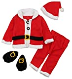 UNIQUEONE 4PCS Infant Baby Santa Christmas Tops+Pants+Hat+Socks Outfits Costumes Size 6-12 Months/Tag70 (Red)