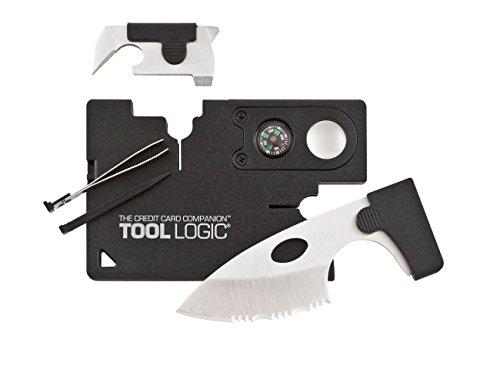 Tool Logic Credit Card Companion with Lens/Compass CC1SB - 9 Tools, Black, 2' Blade