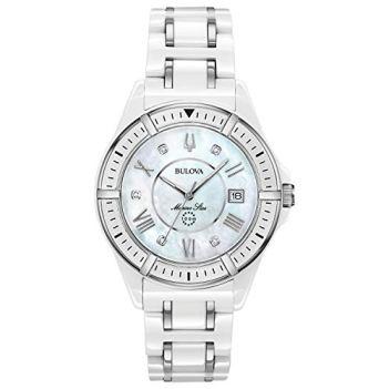Bulova Women's Marine Star Quartz Watch with Ceramic Strap, White, 18 (Model: 98P172)