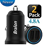 USB Car Charger, Bralon 2-Pack Zinc Alloy 4.8A Dual Port Rapid Car Charger Adapter Flush Compatible iPhone Xs(max)/Xr/X/8/7/6s, iPad Air 2/Mini 3,Note9/Galaxy S9/S8/S7,HTC,LG and More