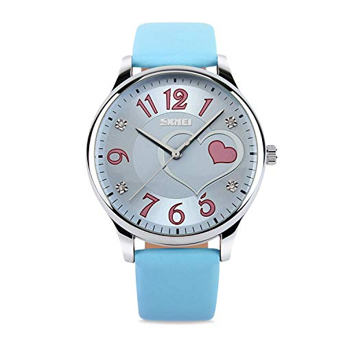 IJAHWRS Girls Analog Watch, Fashion Lady Quartz Wrist Watch Leather Band Big Face Fun Cute Watches with Lovely Heart Shape Waterproof - Blue