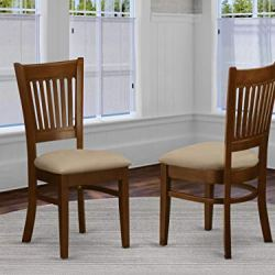 East West Furniture VAC-ESP-C Amazing dining chairs – Linen Fabric Seat and Espresso Solid wood dining chair set of 2