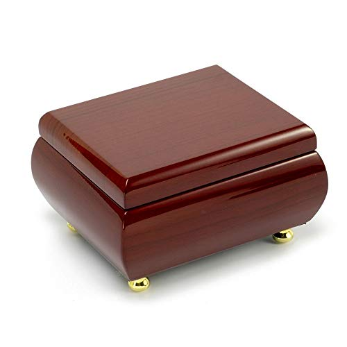 Alluring Hi Gloss Rosewood Simple Design Music Jewelry Box - Over 400 Song Choices - Take Me Home Country Roads (John Denver)