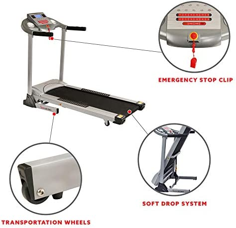 Sunny Health & Fitness Electric Folding Treadmill with Auto Incline 5