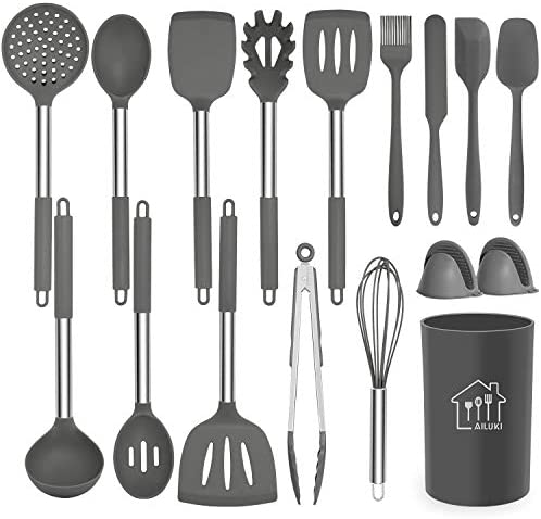 Silicone Cooking Utensil Set,Kitchen Utensils 17 Pcs Cooking Utensils Set,Non-stick Heat Resistant Silicone,Cookware with Stainless Steel Handle – Grey