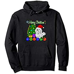 Merry Christmas Maltese Dog Lover Hoodie Xmas Tree Gift