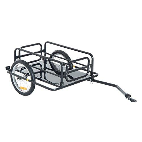 Aosom Wanderer Folding Bicycle Bike Cargo Storage Cart and Luggage Trailer with Hitch - Black