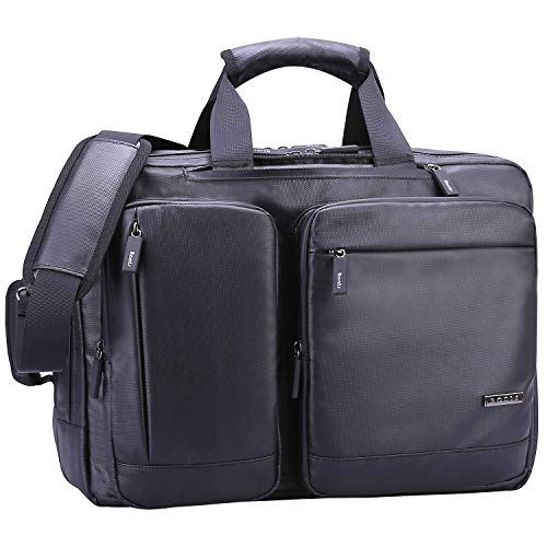 Ronts Convertible Briefcase Backpack Multifunction Briefcase Messenger Bag 17.3 Inch Laptop Bag for Men Women Waterproof Material and Water-Resistant Zippers Convertible Travel Shoulder Daypack Black