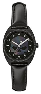 Harley-Davidson Women's Crystal Willie G Skull Logo Watch, Black Finish 78L125