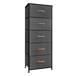 Crestlive Products Vertical Dresser Storage Tower – Sturdy Steel Frame, Wood Top, Easy Pull Fabric Bins, Wood Handles – Organizer Unit for Bedroom, Hallway, Entryway, Closets – 5 Drawers (Gray)