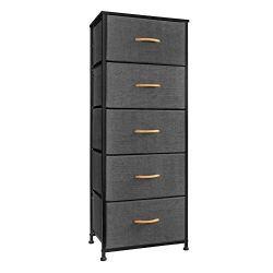 Crestlive Products Vertical Dresser Storage Tower – Sturdy Steel Frame, Wood Top, Easy Pull Fabric Bins, Wood Handles…