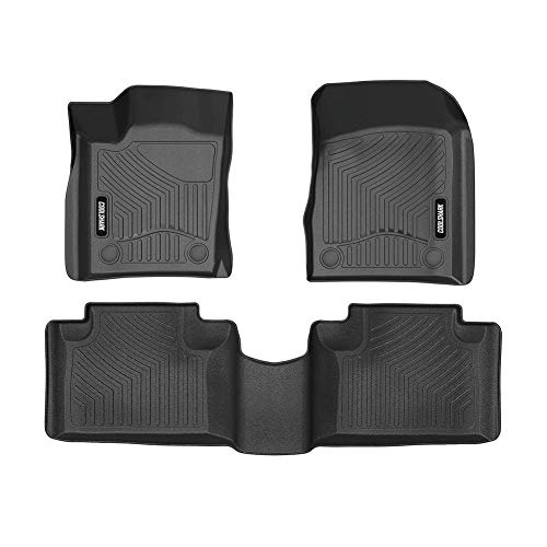 COOLSHARK Floor Mats Custom Fit for 2016-2019 Jeep Grand Cherokee and Dodge Durango Model,1st and 2nd Row Included-All Weather Guard,Black