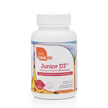 Zahler-Junior-D3-Chewable-1000IU-Kids-Vitamin-D-Great-Tasting-Chewable-Vitamin-D-for-Kids-Optimal-Vitamin-D3-1000-IU-for-ChildrenCertified-Kosher-120-Chewable-Tablets