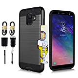 Compatible for Galaxy A6 2018, Credit Card Holder Dual Layer Hybrid Armor [Slim Fit] Case for Samsung Galaxy A6 (2018)(Does not fit Galaxy A6 Plus) [Value Bundle] (Black)
