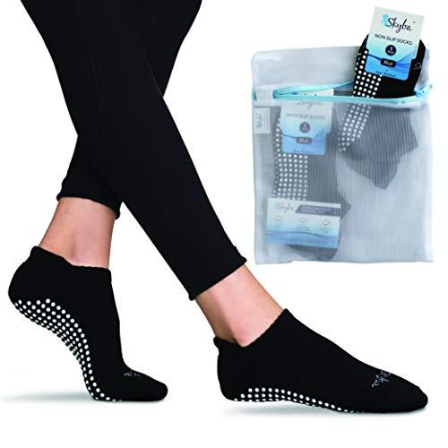 Non Slip Socks for Women & Men- Pure Barre, Pilates, Piyo, Yoga & Hospital - Sticky Anti Skid Grip Socks [Medium]