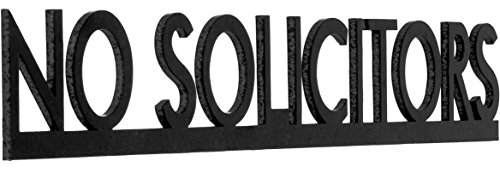No Soliciting Metal Sign, Small, Adhesive Surface Mount, Black, Contemporary Modern by Gravy Goods