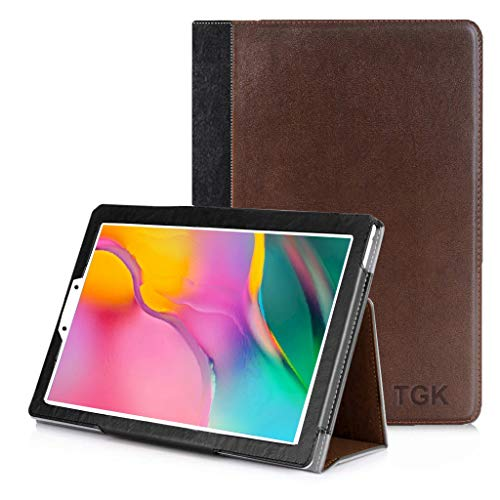 TGK Genuine Leather Ultra Compact Slim Folding Folio Cover Case for Samsung Galaxy Tab A 8.0 2019 SM-T290, T295, T297 - Brown 155