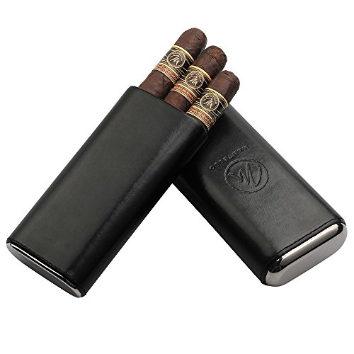 Mantello Black Leather Cigar Case with Interior Cedar Lining