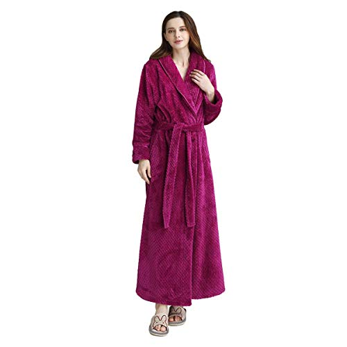 Womens Long Robe Soft Fleece Fluffy Plush Bathrobe Ladies Winter Warm Sleepwear Pajamas Top Housecoat Nightgown Rose Red