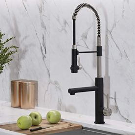 Kraus-KPF-1603SFSMB-Artec-Pro-2-Function-Commercial-Style-Pre-Rinse-Kitchen-Faucet-with-Pull-Down-Spring-Spout-and-Pot-Filler-2475-inch-Spot-Free-Finish-Stainless-SteelMatte-Black