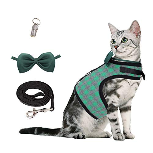 WONDERPUP Escape Proof Plaid Cat Puppy Harness and Leash Collar Set Adjustable Vest for Small Dogs 1