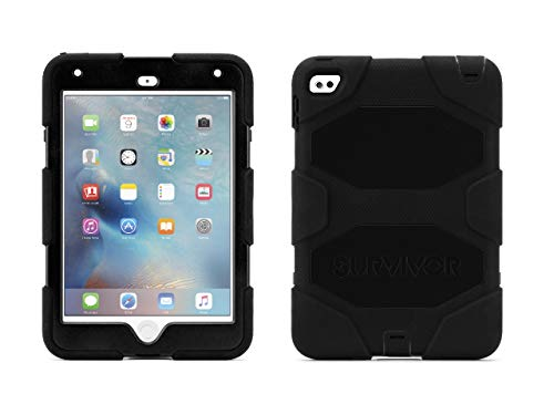 Griffin iPad Mini 4 Case with Stand, Black Survivor All-Terrain, [Rugged] [Protective] [Dual Layer] [Heavy Duty] [Shock Absorpti