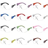 TRUST OPTICS 12 Pack Impact and Ballistic Resistant Safety Protective Glasses with Clear Lenses in Assorted Colors