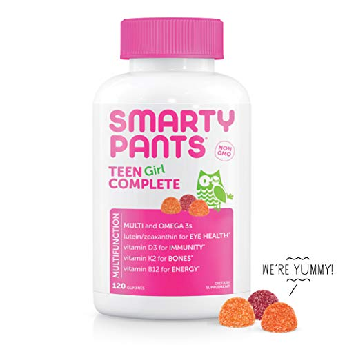 SmartyPants Teen Girl Complete Daily Gummy Vitamins: Multivitamin, Gluten Free, Lutein/Zeaxanthin for Eye Health*, Biotin, Vitamin K & D3, Omega 3 Fish Oil (DHA/EPA), 120Count (30 Day Supply)