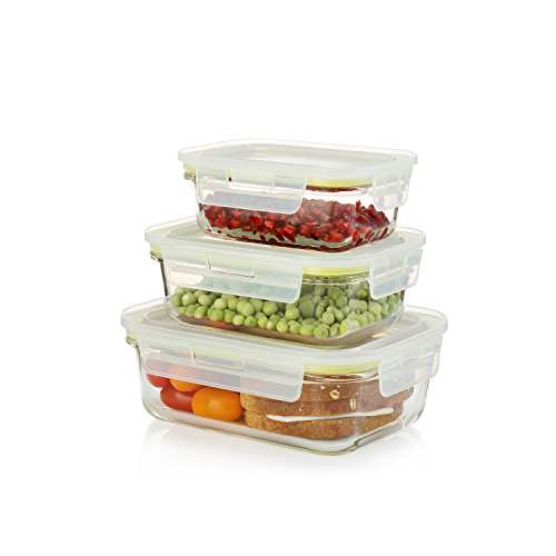 Komax Oven Safe Glass Food Containers - Microwave & Freezer safe - Airtight Storage with Snap Locking Lids - 6 Piece Set - BPA-FREE