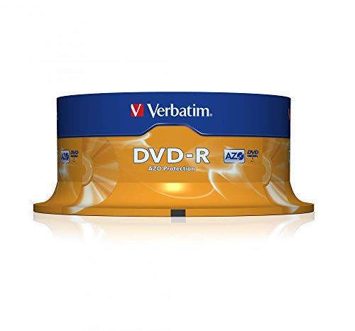 411vj%2BB%2BwUL - Verbatim DVD-R Discs 25 Spindle Pack, Bulk Pack 25 x DVD-R Blank Discs with AZO Protection Against UV, 16x Speed, 4.7 GB