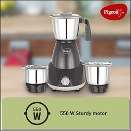 Pigeon Amaze 550 Watt Mixer Grinder with 3 Stainless Steel Jars for dry grinding, wet grinding and making chutney (Dark…