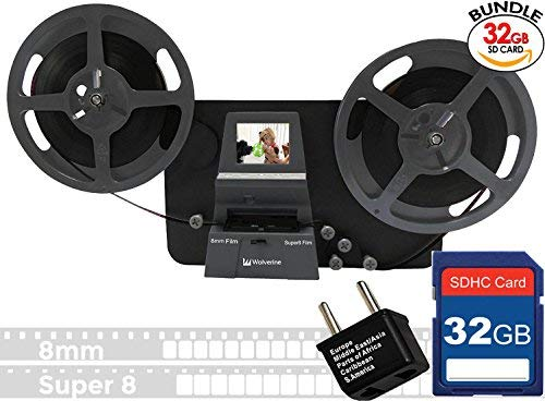 Wolverine 8mm & Super 8mm Reels to Digital MovieMaker Pro Film Digitizer, Film Scanner, 32GB SD Memory Card, Dual Voltage 100-240V Power Supply Adapter & International Two-Prong Round Pin Plug Adapter