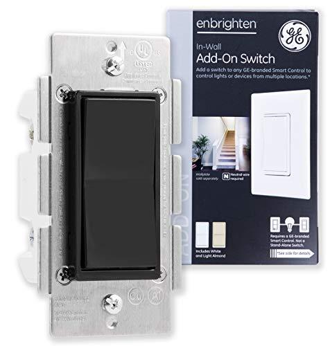 GE Add Z-Wave, ZigBee Bluetooth Wireless Smart Lighting Controls, NOT A STANDALONE Switch, Black Paddle, 35545, Compatible with Alexa, White & Light Almond