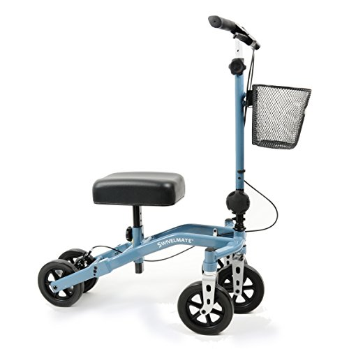 Swivelmate Knee Walker with Basket, Steerable 90 Degree Turning Radius, Premium Quality, Extra Thick Knee Pad, 5-Wheel Stable Design - Knee Scooter Crutch Alternative