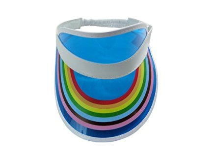 Retro-Rainbow-Visor-Hat-Tennis-Beach-Plastic-Color-Clear-Sun-Bingo-Vegas-Golf-Hat