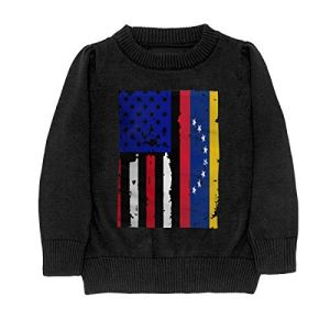 HJKNF58Q Venezuela American USA Flag Pride Sweater Youth Kids Funny Crew Neck Pullover Sweatshirt