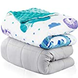 Weighted Blanket for Kids 5lbs | Throw Weighted Blanket for Adults | Heavy Blanket Best for Children 40-70 Pounds | Warming & Cooling Weighted Blanket with Minky Cover | Dinosaurs Design Quilt | 36x48