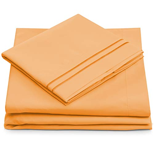 King Size Bed Sheets - Pastel Orange Luxury Sheet Set - Deep Pocket - Super Soft Hotel Bedding - Cool & Wrinkle Free - 1 Fitted, 1 Flat, 2 Pillow Cases - Peach King Sheets - 4 Piece