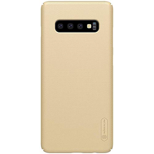 "412DS7mksrL - Nillkin Case for Samsung Galaxy S10 Plus (6.4"" Inch) Super Frosted Hard Back Cover Hard PC Gold Color"