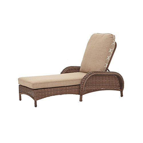 Hampton Bay Beacon Park Steel Wicker Outdoor Chaise Lounge with Toffee Cushions