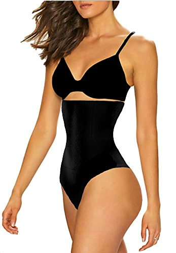 ShaperQueen 102 Thong - Women Waist Cincher Girdle Tummy Slimmer Sexy Thong Panty Shapewear (XXL, Black)